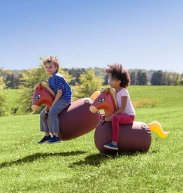 HearthSong Inflatable Ride-On Hop 'n Go Horses with Weighted Bottoms and Protective Covers, Set of 2
