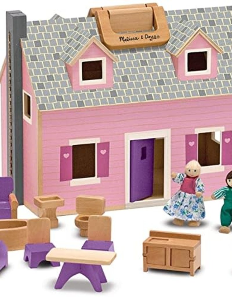 Melissa & Doug Dollhouse Wooden Fold and Go
