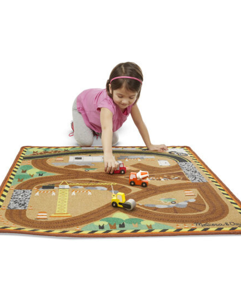 Melissa & Doug Construction Rug with 3 trucks