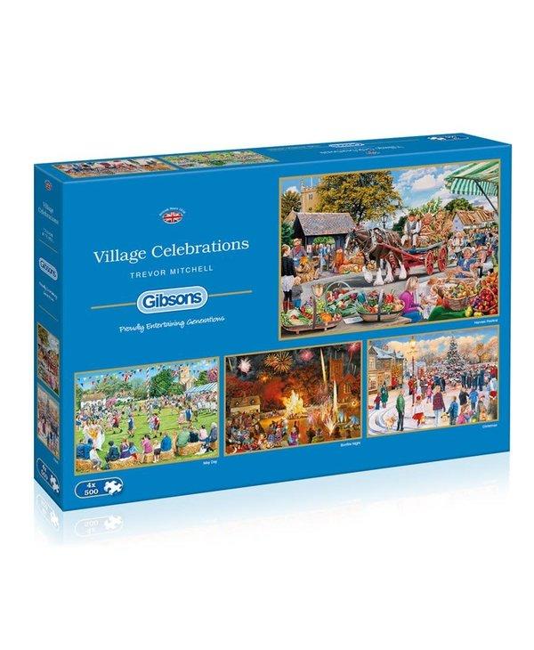 Village Celebrations 500 piece 4 puzzle set