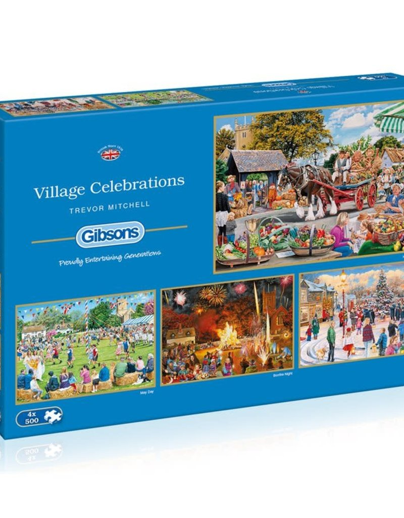 Gibson Village Celebrations 500 piece 4 puzzle set