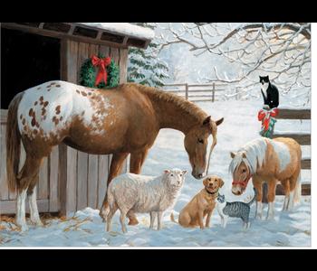 Winter Barnyard Family Puzzle 350 piece
