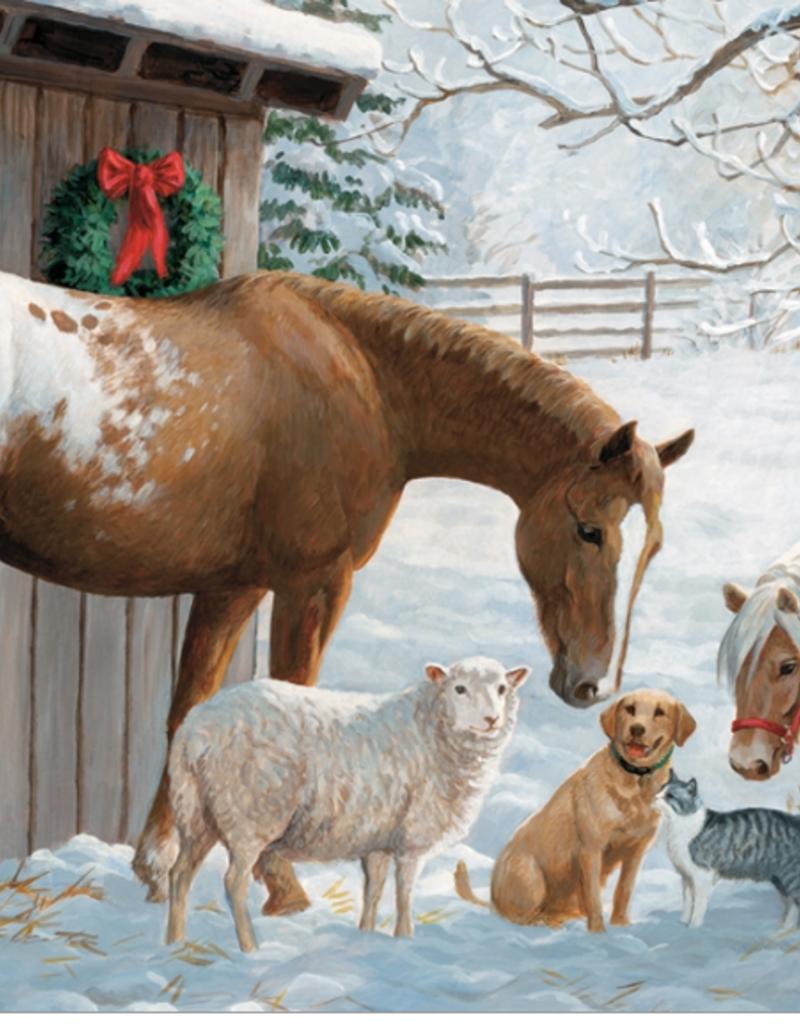 Cobble Hill Winter Barnyard Family Puzzle 350 piece