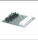 "Chess Set 13"" Black and White Frosted Mirror"