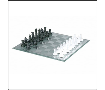 """Chess Set 13"""" Black and White Frosted Mirror"""