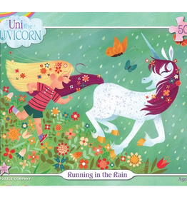 New York Puzzle Company Uni the Unicorn Running In the Rain 500 piece puzzle