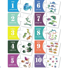 New York Puzzle Company Pout Pout Two Piece Numbers, 2-Piece Number Puzzles (Set of 10)