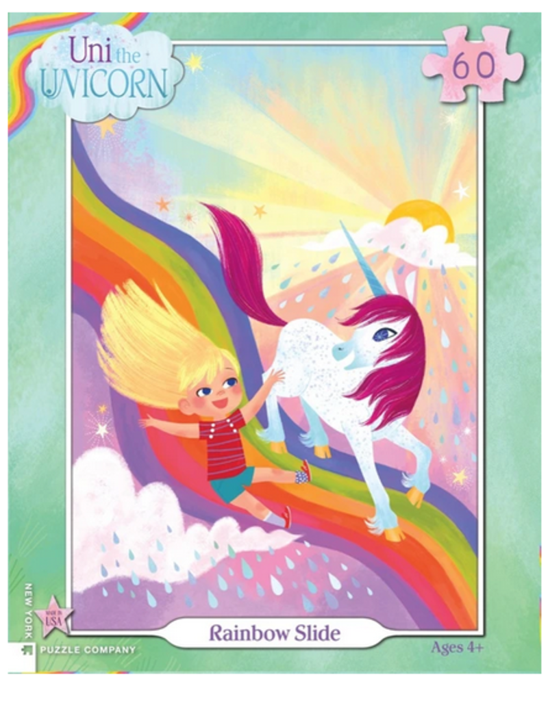 New York Puzzle Company Uni The Unicorn Rainbow Slide 60 piece puzzle