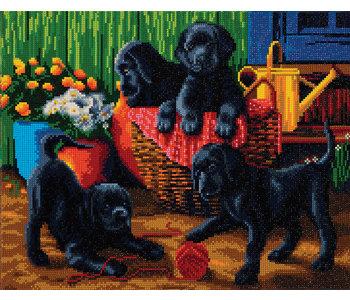 Crystal Art Black Labrador Pups