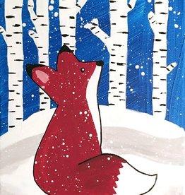 Diane W Youth Winter Fox Painting  Sat Feb 22