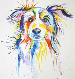 Tamara S Watercolour Playful Dog Thurs March 5,