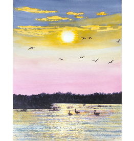 Tamara S Watercolour Geese on the Pond at Sunset Thur Apr 23