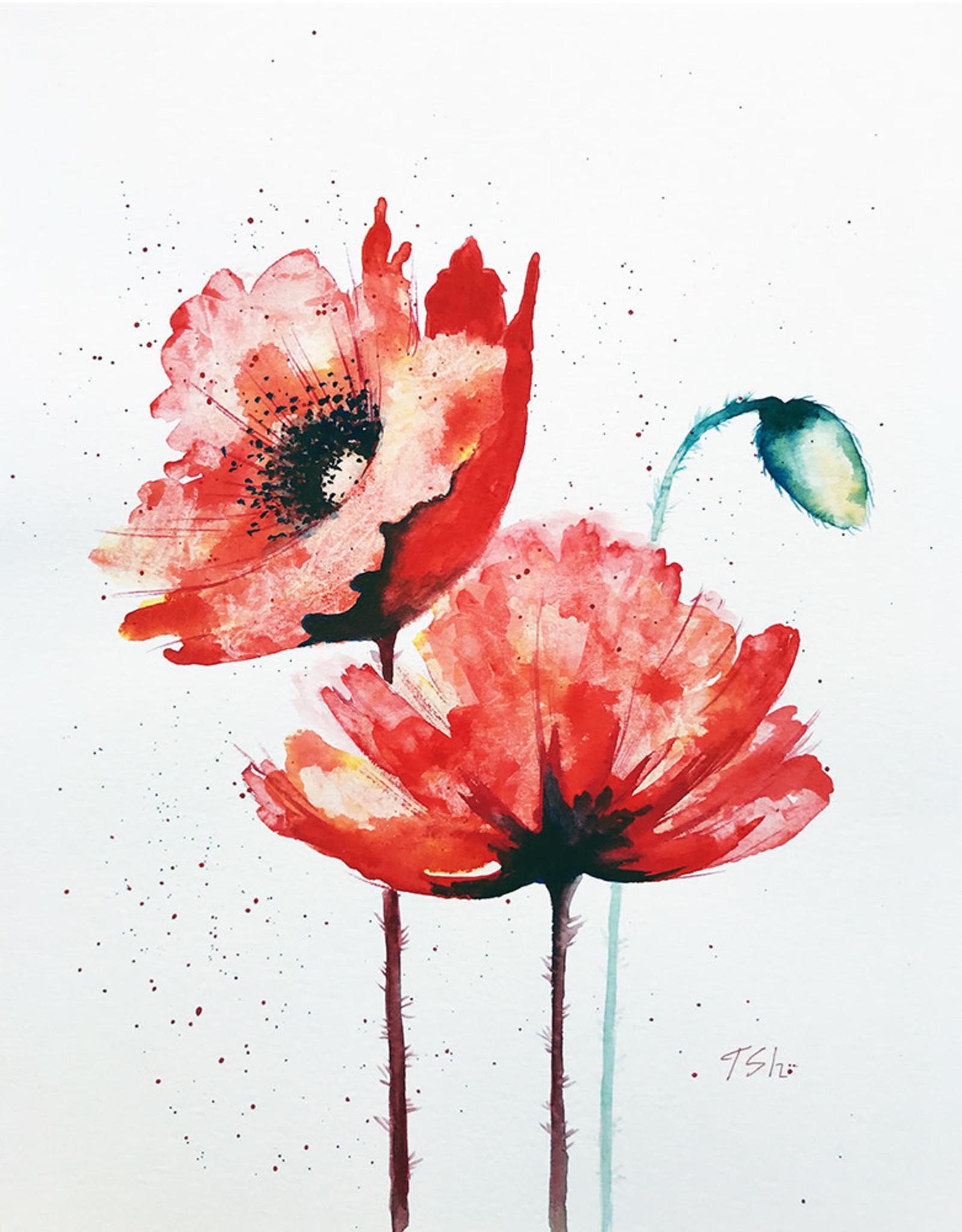Tamara S Watercolour  Two Poppies Tues Nov 3