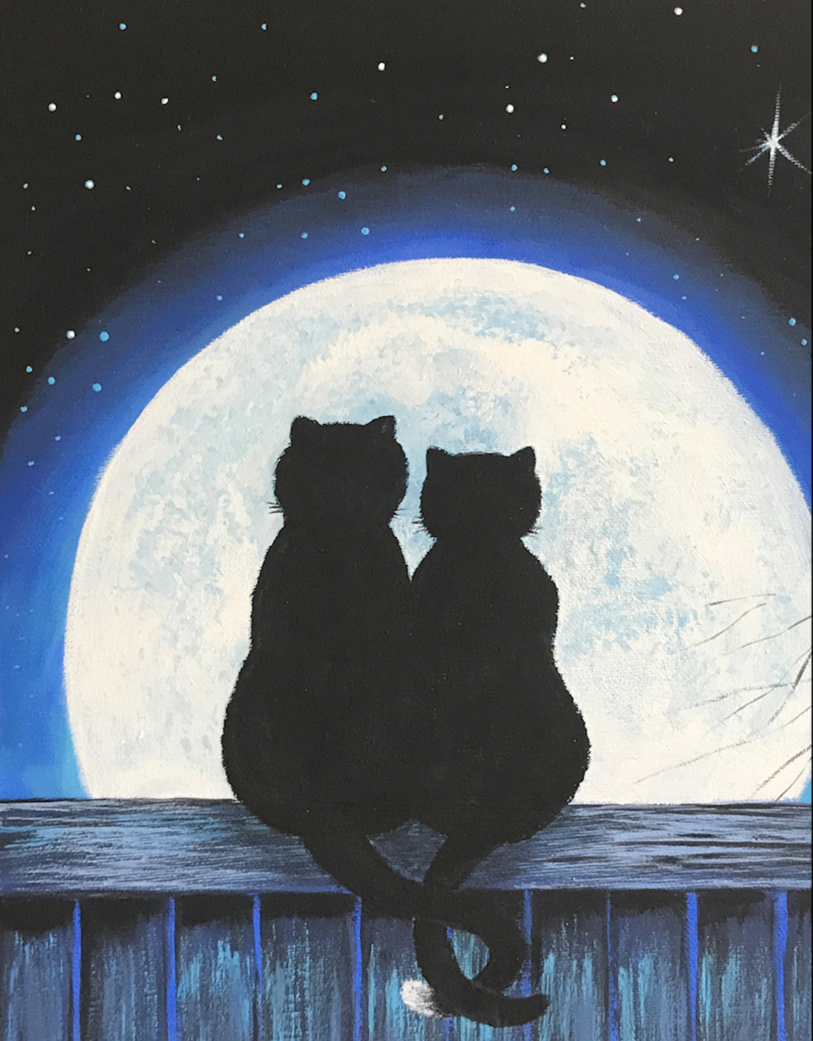 Tamara S Acrylic Art Class Two Cats & a Moon Wed Aug 11 4pm-6pm