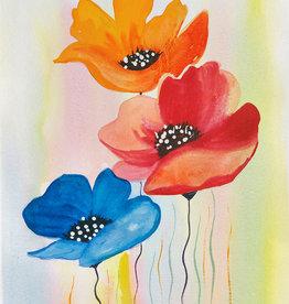 Tamara S Watercolour Art Class Three Poppies Tues Sep 21 11am to 1pm