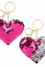 Sequin heart keychain
