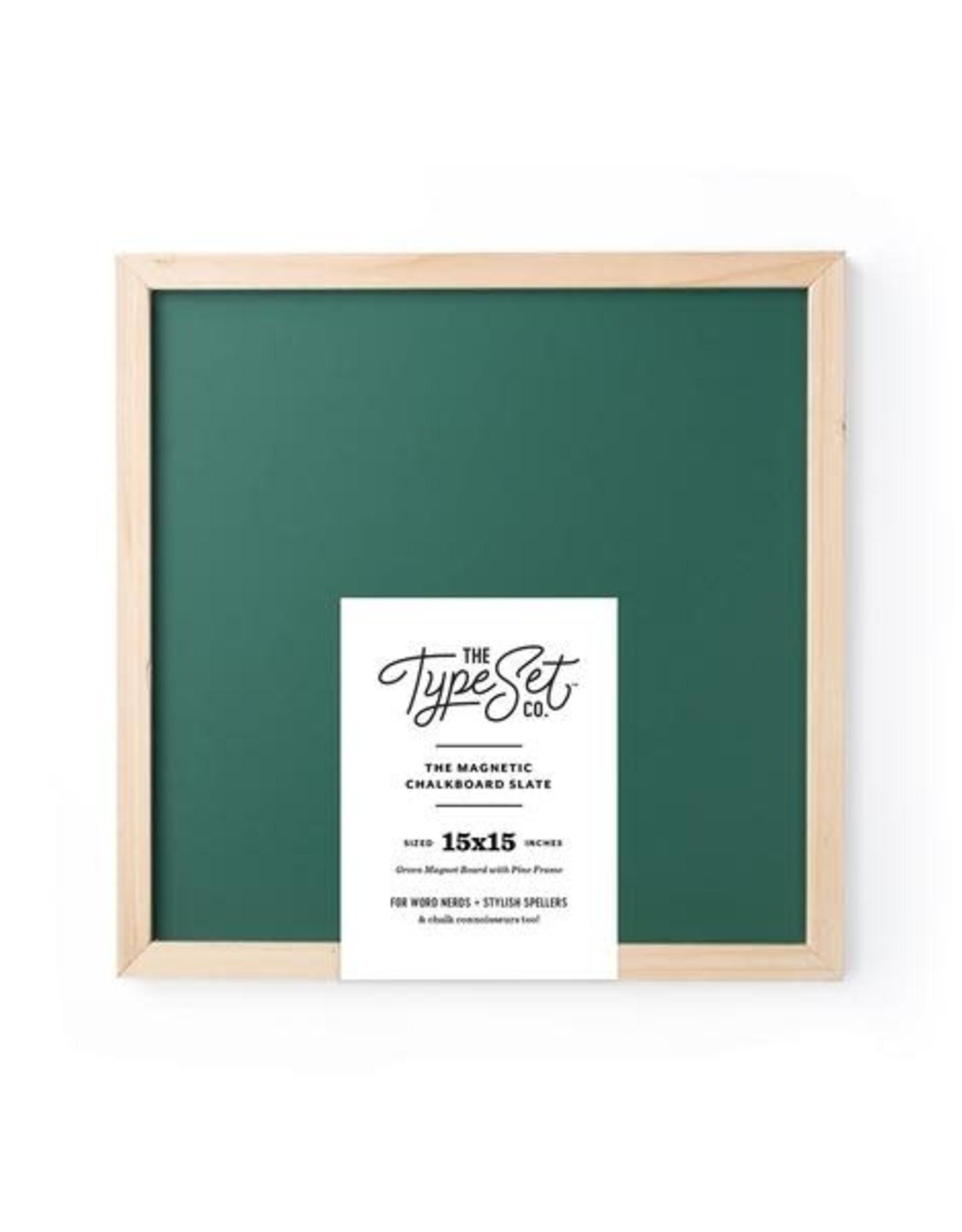 The Type Set Green chalkboard