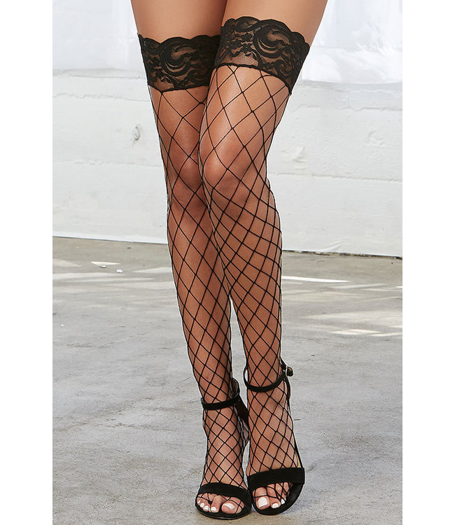 Black Fence Net Thigh High 0115