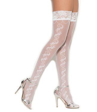 White Sheer Floral Thigh High 1316