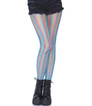 Blue Rainbow Shimmer Striped Fishnet Pantyhose 9308