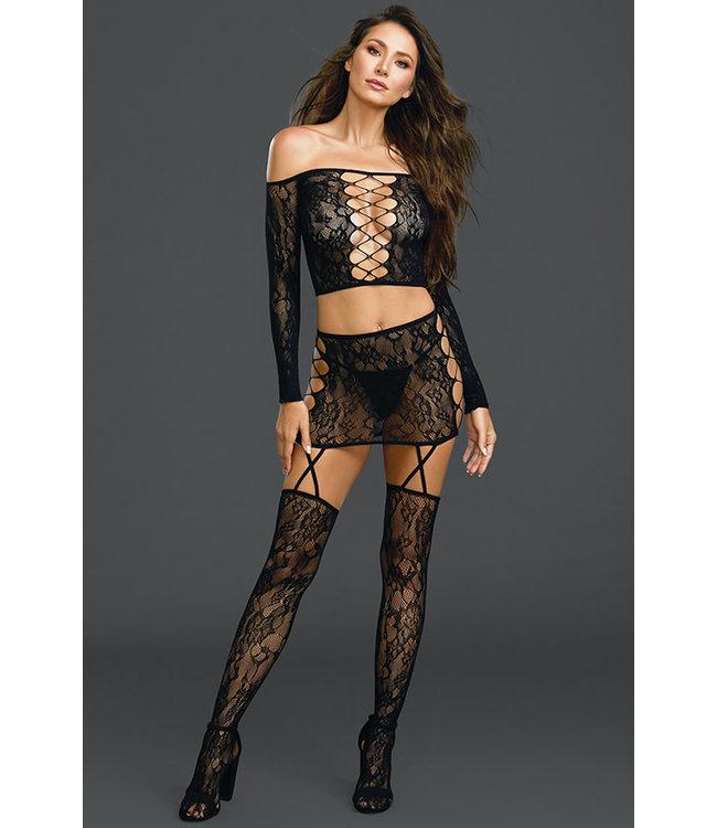 Black Lace Criss Cross Bodystocking 0317
