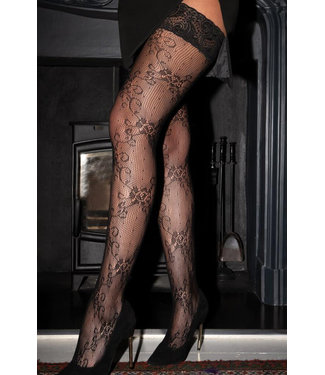 Imagine Lace Hold Up Black Thigh High 266