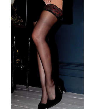Amour Lace Top 15 Denier Hold Up Black/Scarlet Thigh High 264
