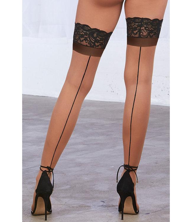Black/Nude Sheer Thigh High 0337