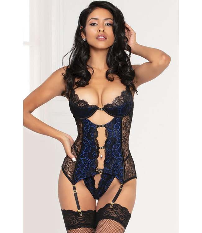 Selena Plus Black/Blue Bustier 11094X