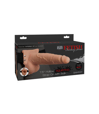 Fetish Fantasy 7.5in Hollow Squirting Strap-On with Balls