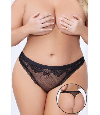 Plus Sheer Lace Thong 10987X