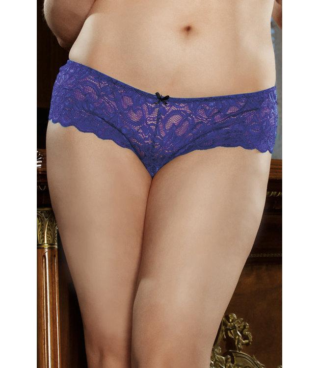 Plus Lace Crotchless Panty 7177X