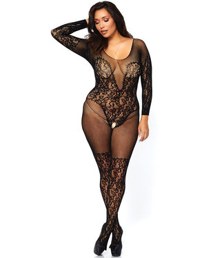 Black Plus Vine Lace Bodystocking 89190Q