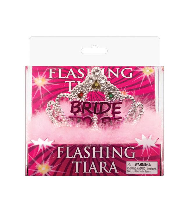 Flashing Bride To Be Tiara With Pink Marabou