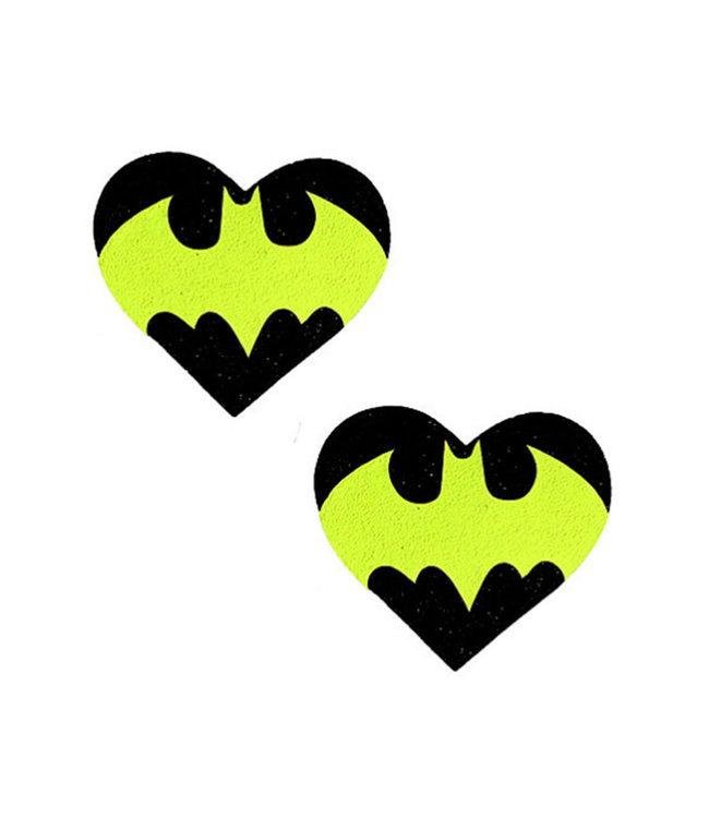 Neva Nude Pasty Heart Neon Batman Signal Glitter Black