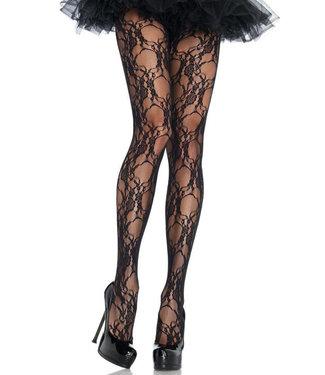 Black Floral Lace Pantyhose 9653