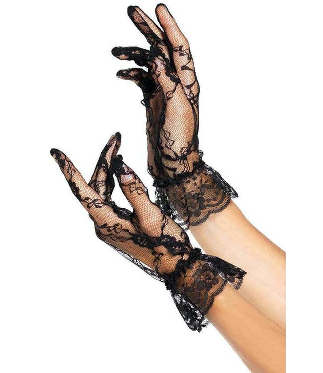 Black Lace Ruffle Gloves