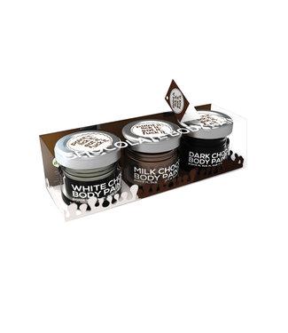 Chocolate Lovers Erotic Chocolate Body Paints Assorted Flavors Milk/Dark & White 3pk