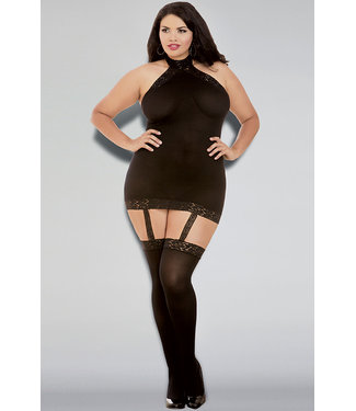 Plus Sheer Garter Dress Bodystocking 0035X