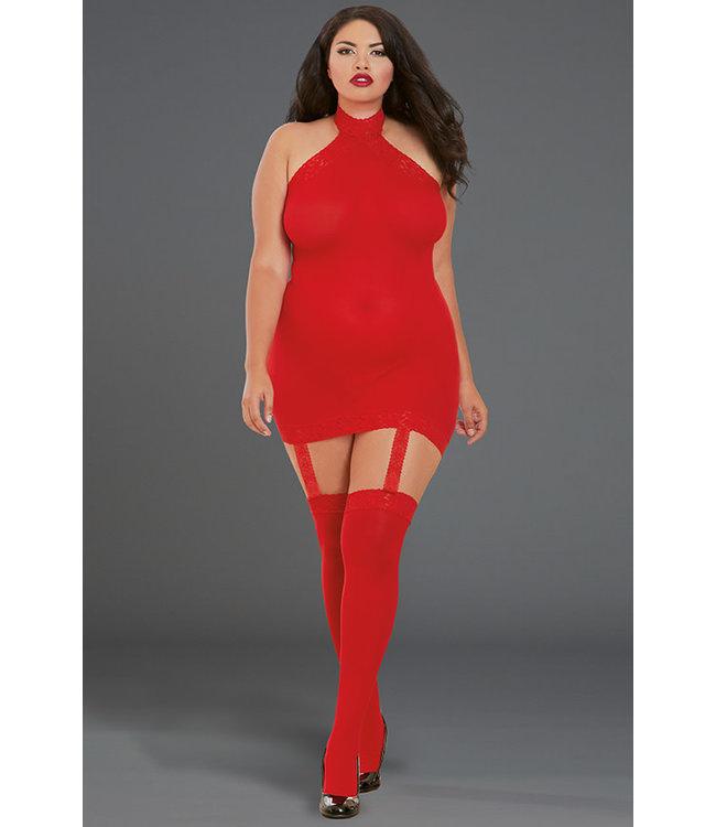 Plus Sheer Garter Dress Bodystocking 0035X