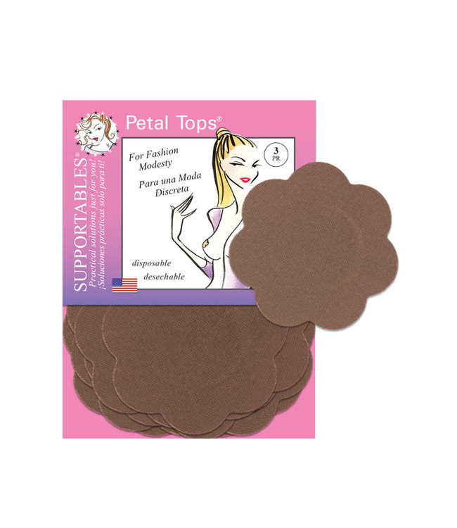 Petal Tops Soft Disposable Nipple Covers Cocoa One Size
