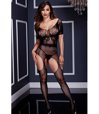 Black Wide Neck Lace Bodystocking BLW3133
