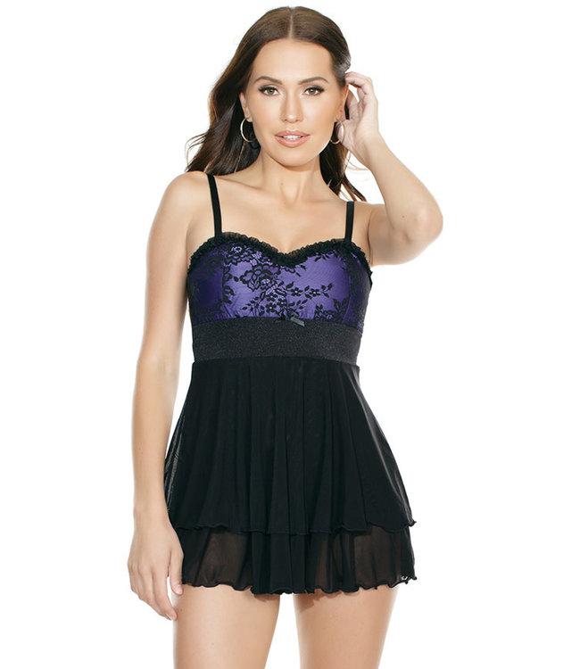 Reena Purple/Black Babydoll 7107