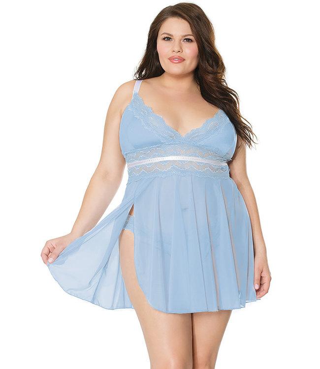 Yolanda Plus Light Blue/White Babydoll 21109X