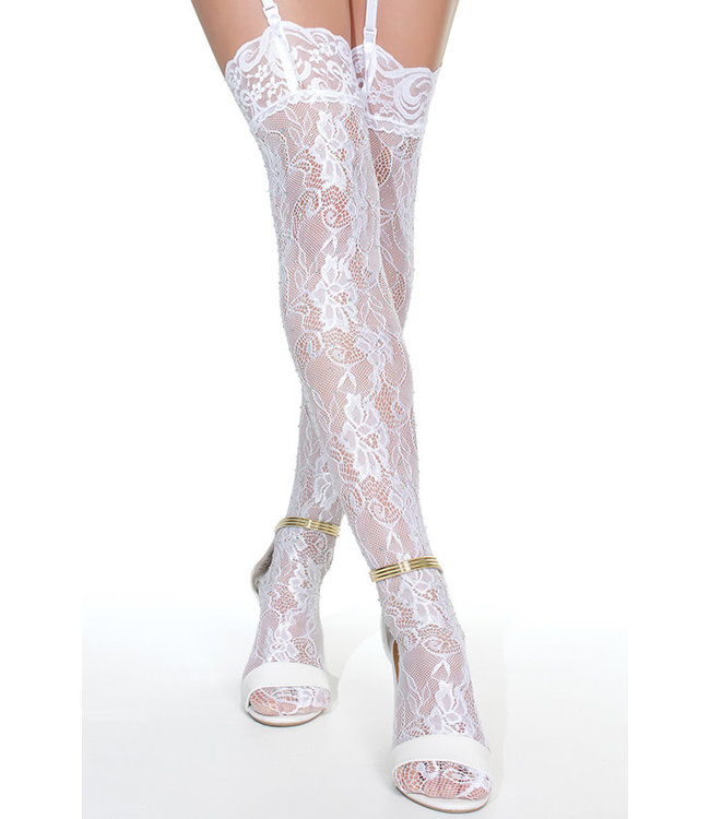 White Lace Thigh Highs 7260 One Size