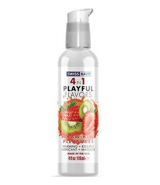 Swiss Navy 4 in 1 Playful Flavors Strawberry Kiwi Pleasure 4oz