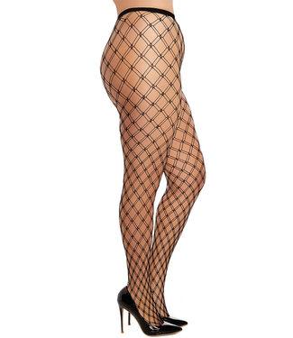 Plus Black Fence Net Pantyhose 0369X