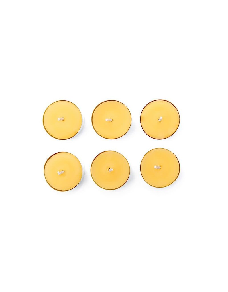Bees Wax Works Beeswax Tea Lights 6 w/Tin Cup