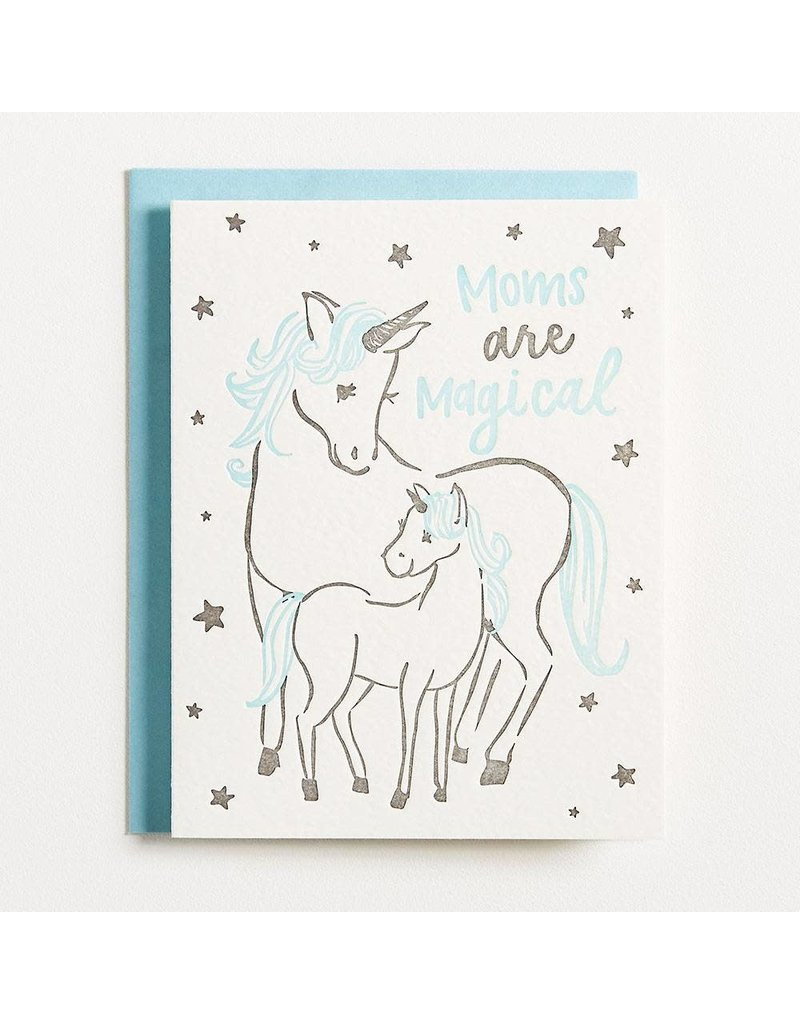 Waste Not Paper Moms Are Magical Unicorn Letterpress Mother's Day Card