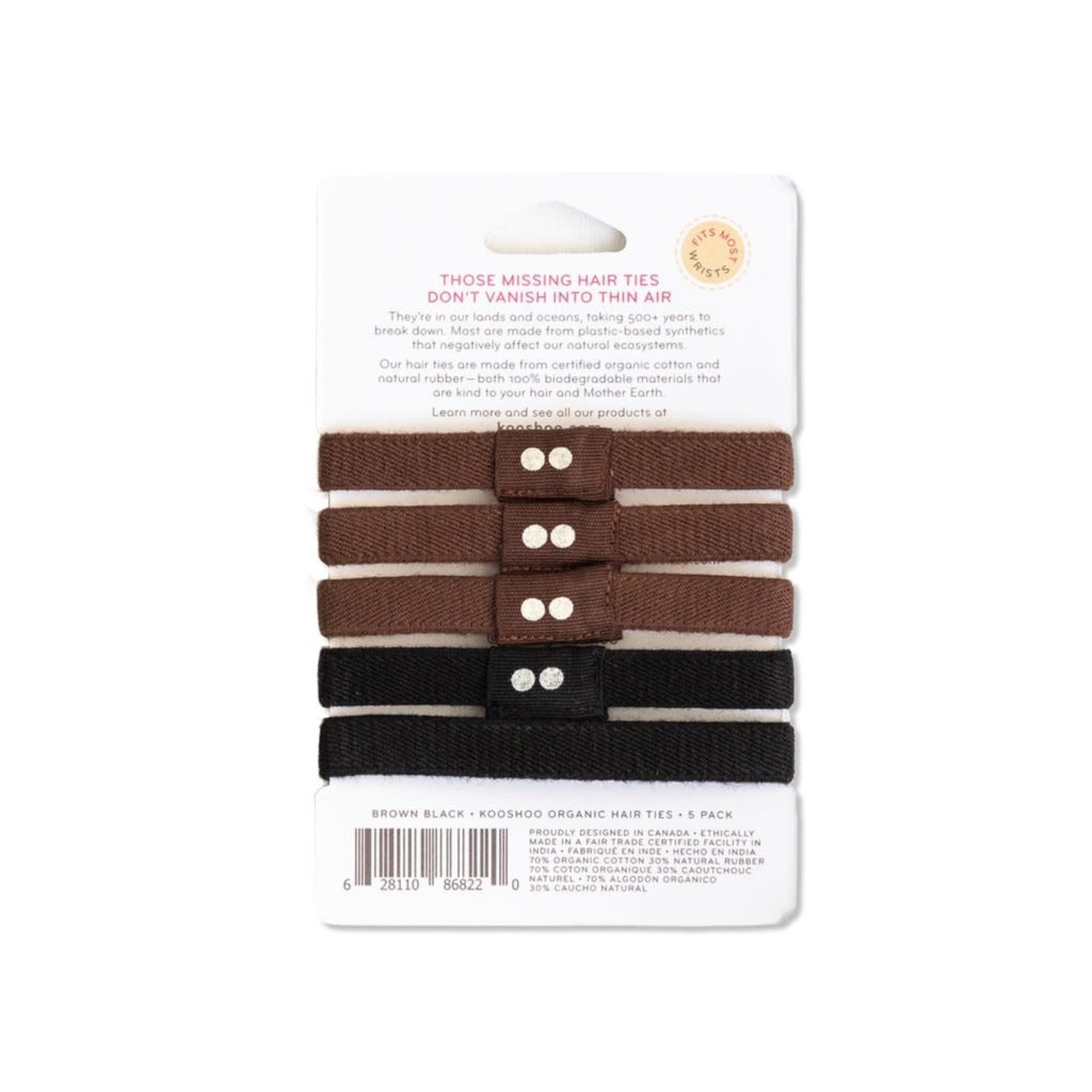 KOOSHOO Organic Hair Ties - Black Brown
